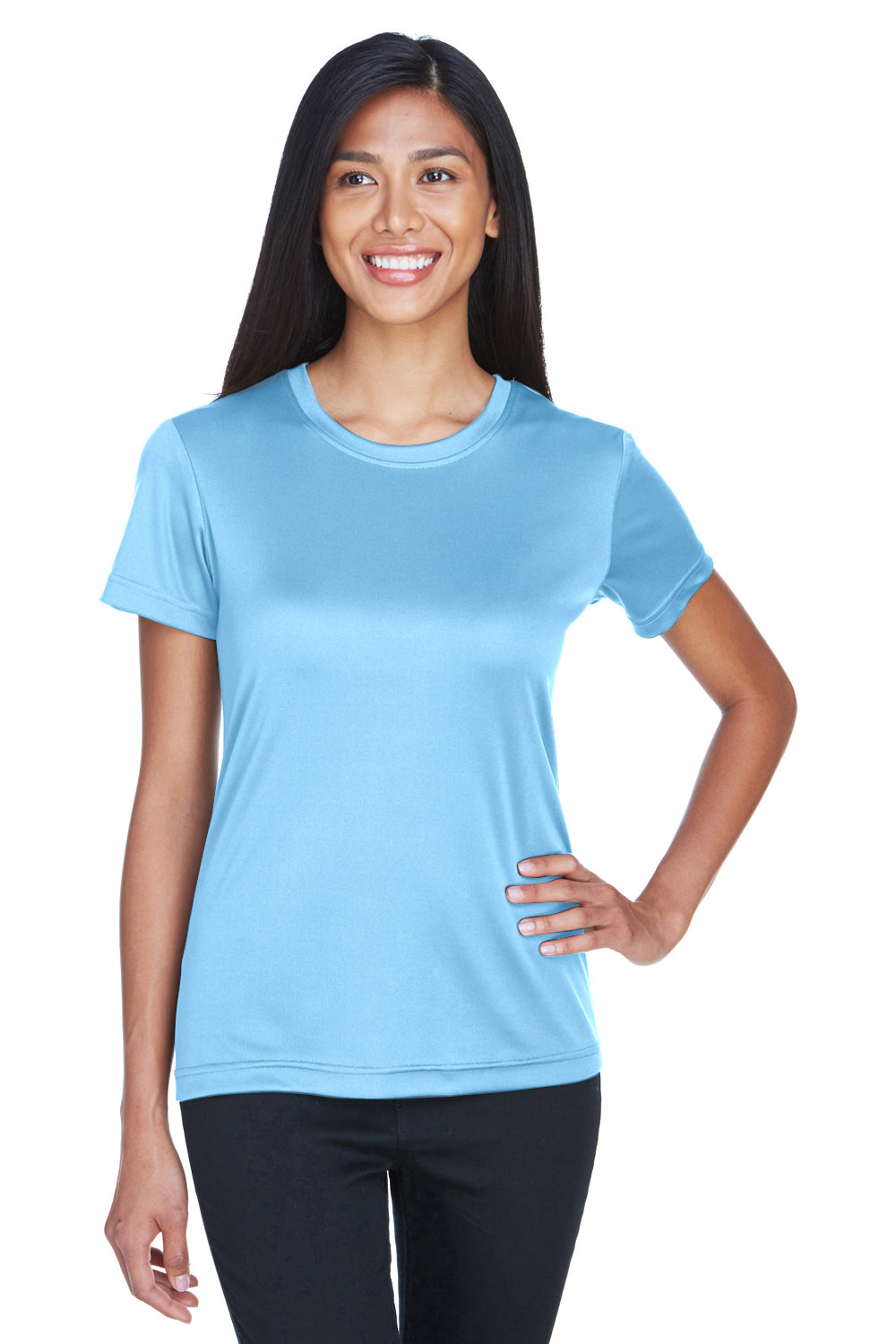 UltraClub 8620L Womens Cool & Dry Performance Moisture Wicking Short Sleeve Crewneck T-Shirt Columbia Blue Front