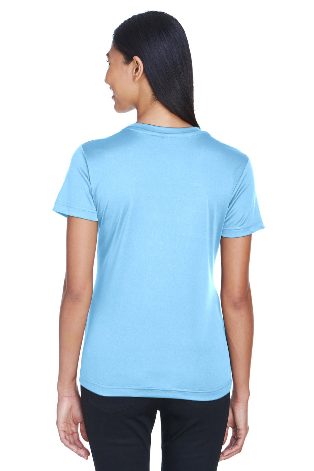 UltraClub 8620L Womens Cool & Dry Performance Moisture Wicking Short Sleeve Crewneck T-Shirt Columbia Blue Back