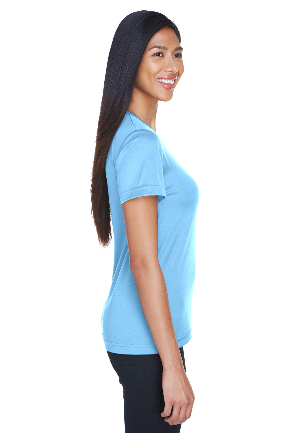 UltraClub 8620L Womens Cool & Dry Performance Moisture Wicking Short Sleeve Crewneck T-Shirt Columbia Blue Side