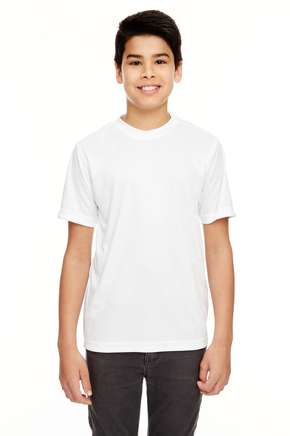 UltraClub 8620Y Youth Cool & Dry Performance Moisture Wicking Short Sleeve Crewneck T-Shirt White Front