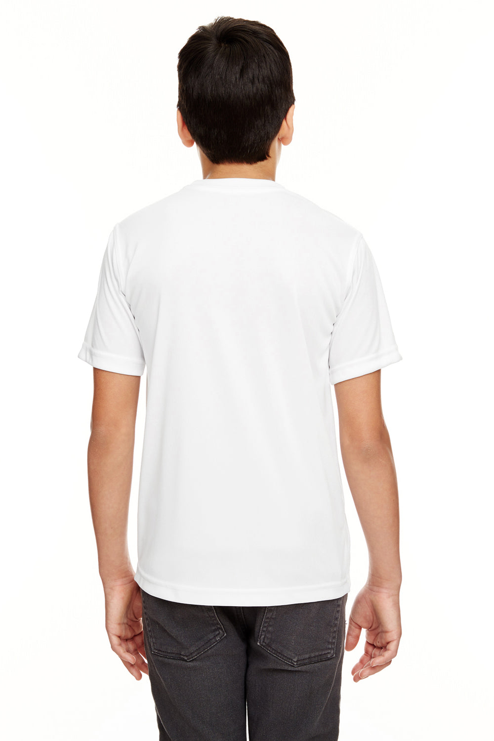 UltraClub 8620Y Youth Cool & Dry Performance Moisture Wicking Short Sleeve Crewneck T-Shirt White Back