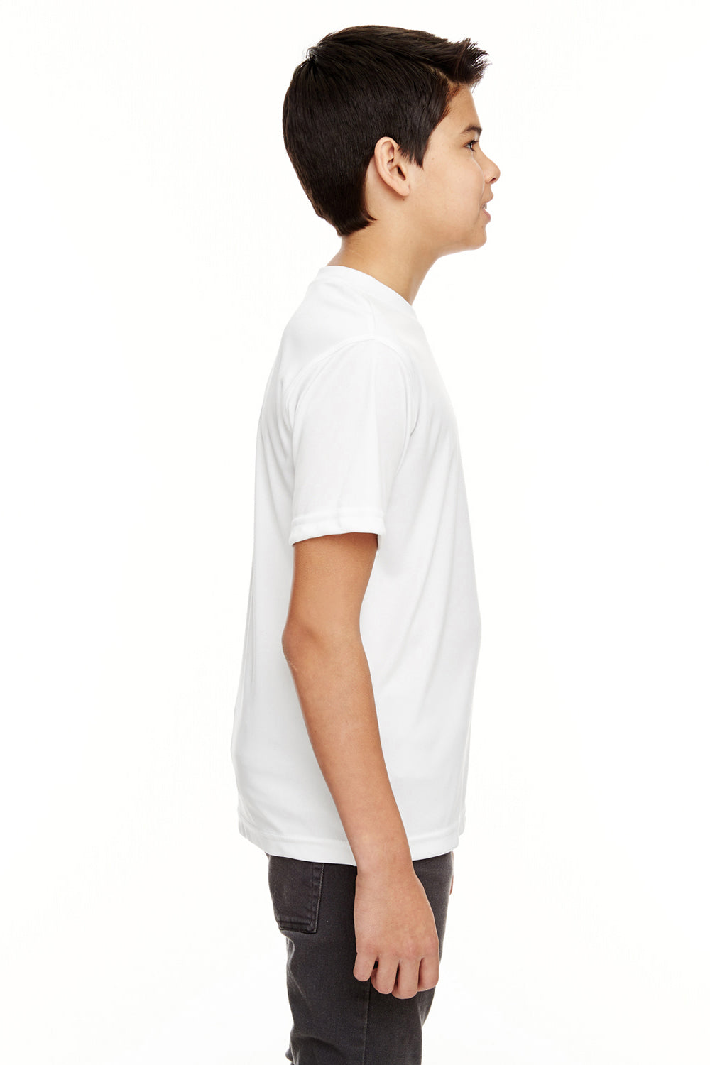 UltraClub 8620Y Youth Cool & Dry Performance Moisture Wicking Short Sleeve Crewneck T-Shirt White Side