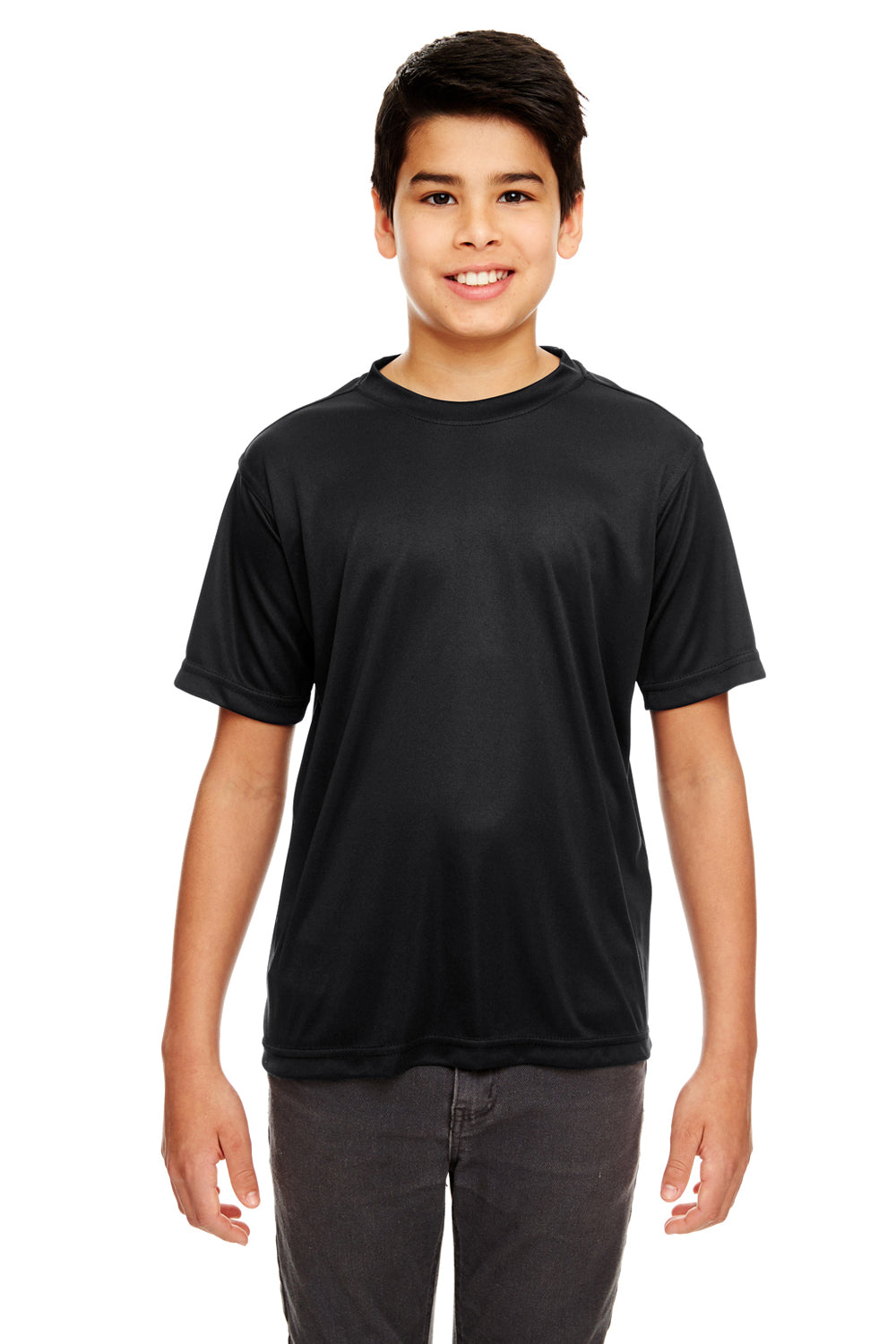 UltraClub 8620Y Youth Cool & Dry Performance Moisture Wicking Short Sleeve Crewneck T-Shirt Black Front