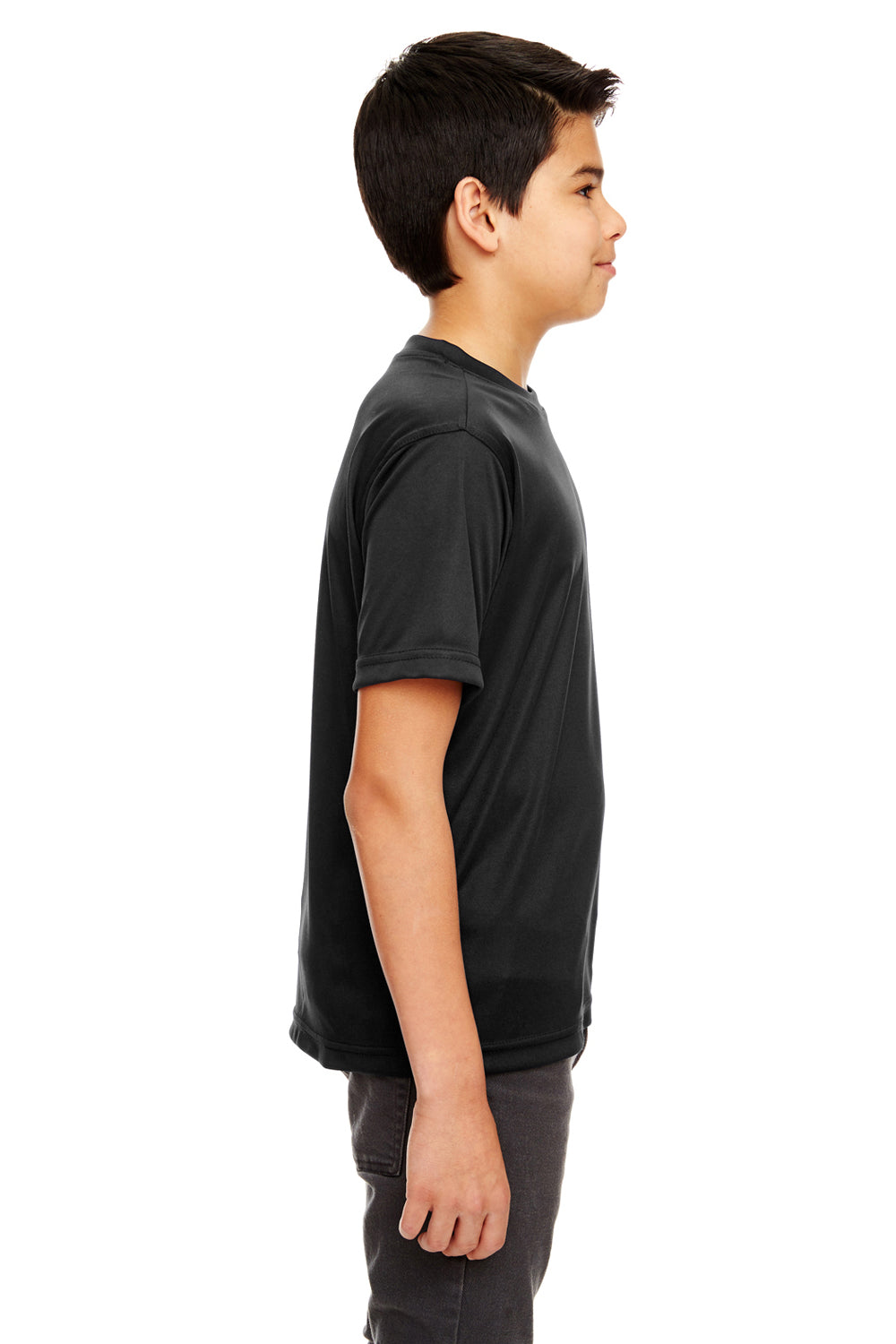 UltraClub 8620Y Youth Cool & Dry Performance Moisture Wicking Short Sleeve Crewneck T-Shirt Black Side