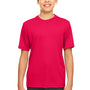 UltraClub Youth Cool & Dry Performance Moisture Wicking Short Sleeve Crewneck T-Shirt - Red