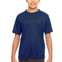 UltraClub Youth Cool & Dry Performance Moisture Wicking Short Sleeve Crewneck T-Shirt - Navy Blue