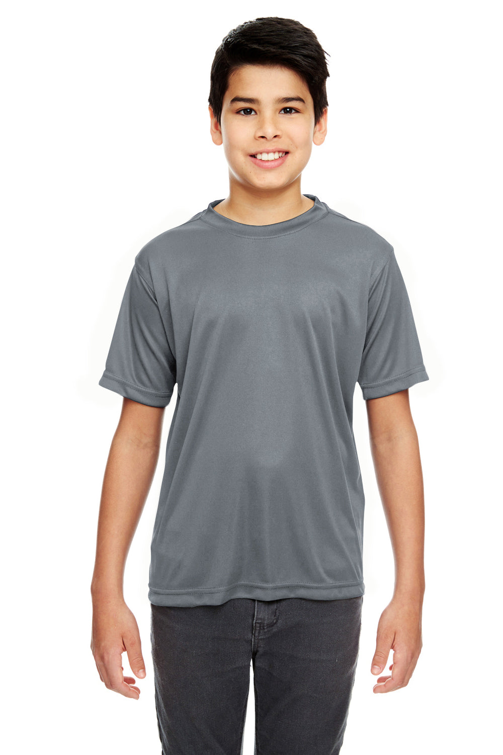 UltraClub 8620Y Youth Cool & Dry Performance Moisture Wicking Short Sleeve Crewneck T-Shirt Charcoal Grey Front