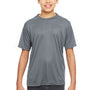 UltraClub Youth Cool & Dry Performance Moisture Wicking Short Sleeve Crewneck T-Shirt - Charcoal Grey