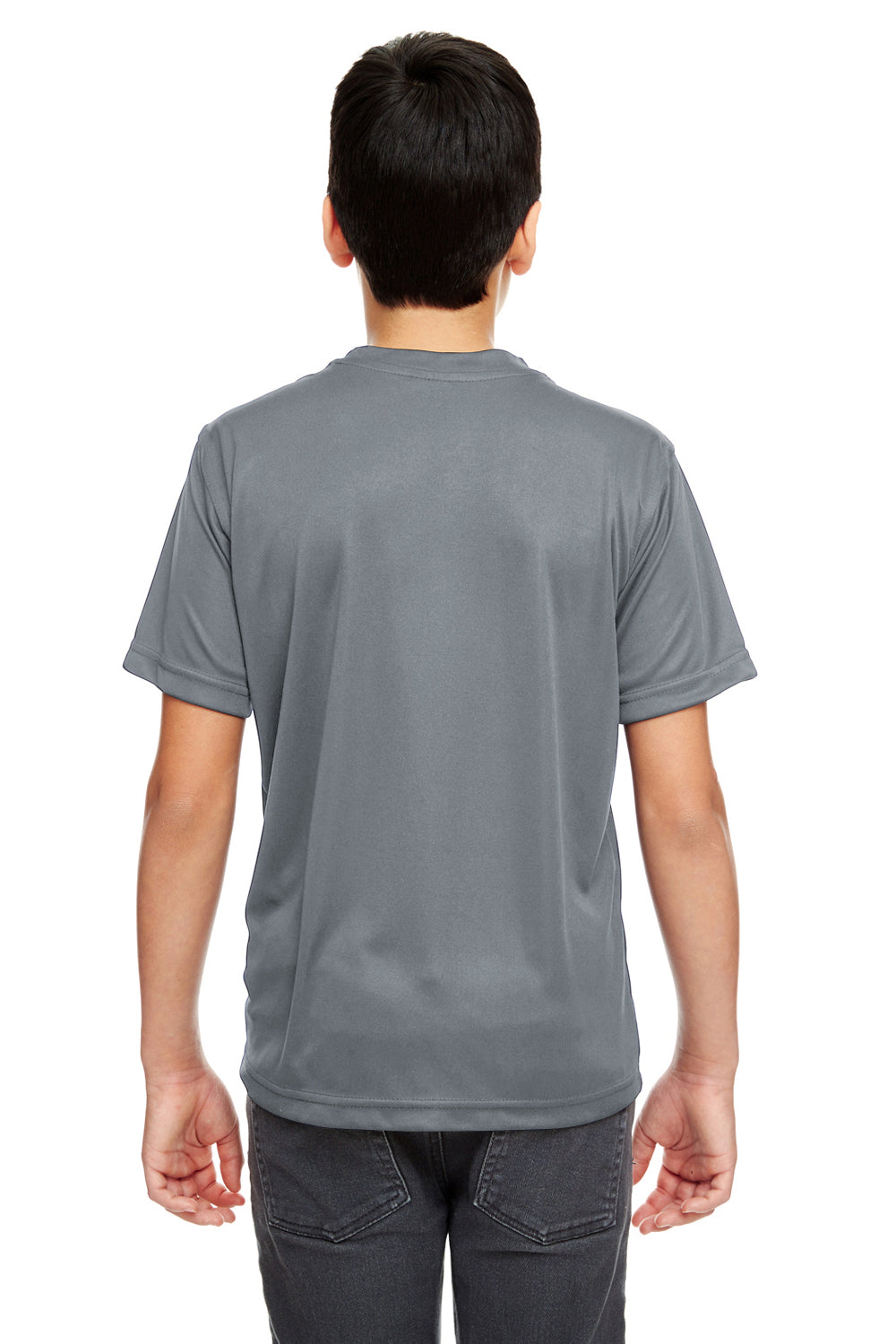 UltraClub 8620Y Youth Cool & Dry Performance Moisture Wicking Short Sleeve Crewneck T-Shirt Charcoal Grey Back