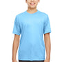 UltraClub Youth Cool & Dry Performance Moisture Wicking Short Sleeve Crewneck T-Shirt - Columbia Blue