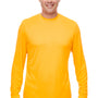 UltraClub Mens Cool & Dry Performance Moisture Wicking Long Sleeve Crewneck T-Shirt - Gold