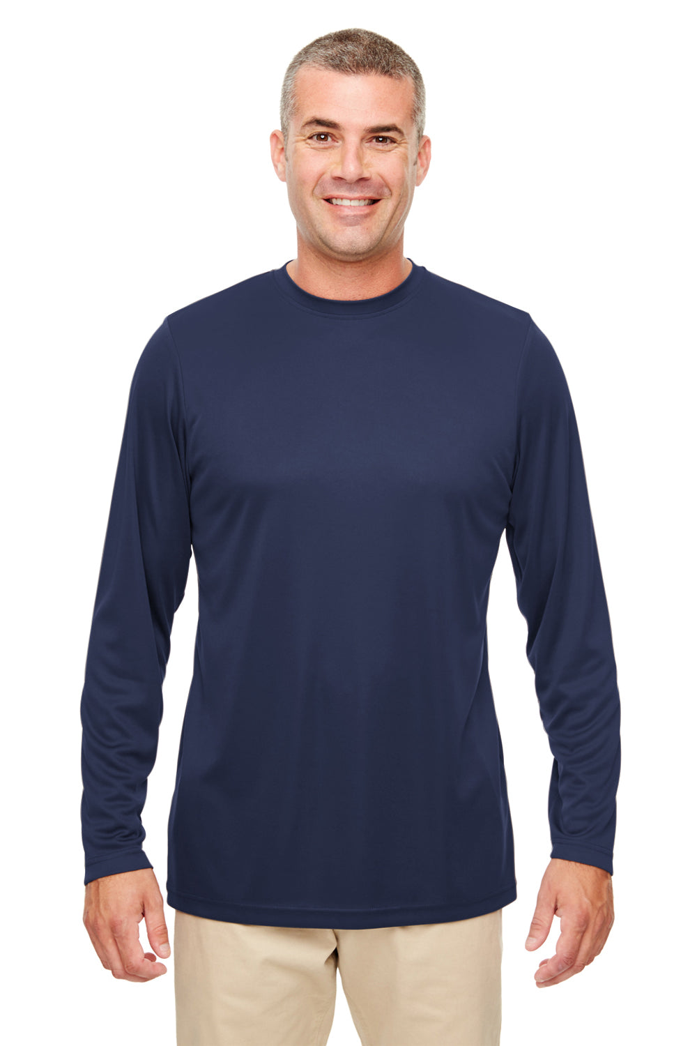UltraClub 8622 Mens Cool & Dry Performance Moisture Wicking Long Sleeve Crewneck T-Shirt Navy Blue Front