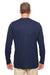 UltraClub 8622 Mens Cool & Dry Performance Moisture Wicking Long Sleeve Crewneck T-Shirt Navy Blue Back