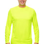UltraClub Mens Cool & Dry Performance Moisture Wicking Long Sleeve Crewneck T-Shirt - Bright Yellow