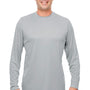 UltraClub Mens Cool & Dry Performance Moisture Wicking Long Sleeve Crewneck T-Shirt - Grey