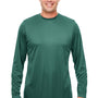 UltraClub Mens Cool & Dry Performance Moisture Wicking Long Sleeve Crewneck T-Shirt - Forest Green