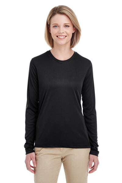 UltraClub 8622W Womens Cool & Dry Performance Moisture Wicking Long Sleeve Crewneck T-Shirt Black Front