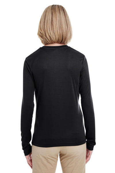 UltraClub 8622W Womens Cool & Dry Performance Moisture Wicking Long Sleeve Crewneck T-Shirt Black Back