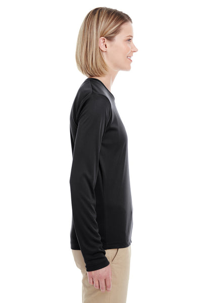 UltraClub 8622W Womens Cool & Dry Performance Moisture Wicking Long Sleeve Crewneck T-Shirt Black Side