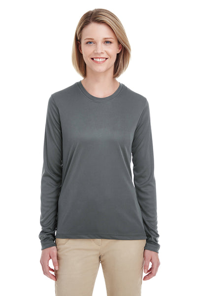UltraClub 8622W Womens Cool & Dry Performance Moisture Wicking Long Sleeve Crewneck T-Shirt Charcoal Grey Front