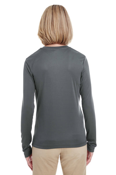 UltraClub 8622W Womens Cool & Dry Performance Moisture Wicking Long Sleeve Crewneck T-Shirt Charcoal Grey Back