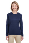 UltraClub 8622W Womens Cool & Dry Performance Moisture Wicking Long Sleeve Crewneck T-Shirt Navy Blue Front