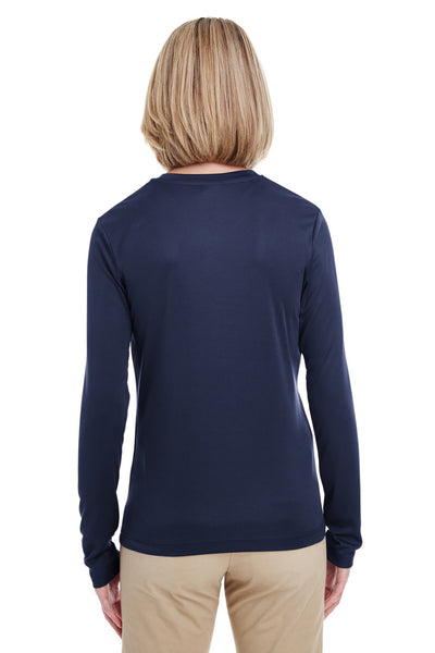 UltraClub 8622W Womens Cool & Dry Performance Moisture Wicking Long Sleeve Crewneck T-Shirt Navy Blue Back