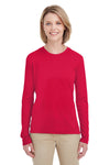 UltraClub 8622W Womens Cool & Dry Performance Moisture Wicking Long Sleeve Crewneck T-Shirt Red Front