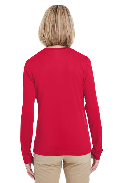 UltraClub 8622W Womens Cool & Dry Performance Moisture Wicking Long Sleeve Crewneck T-Shirt Red Back