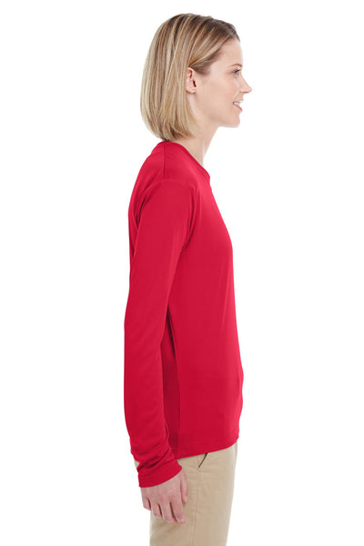UltraClub 8622W Womens Cool & Dry Performance Moisture Wicking Long Sleeve Crewneck T-Shirt Red Side