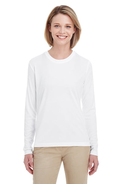 UltraClub 8622W Womens Cool & Dry Performance Moisture Wicking Long Sleeve Crewneck T-Shirt White Front