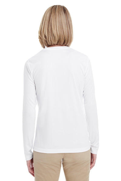UltraClub 8622W Womens Cool & Dry Performance Moisture Wicking Long Sleeve Crewneck T-Shirt White Back