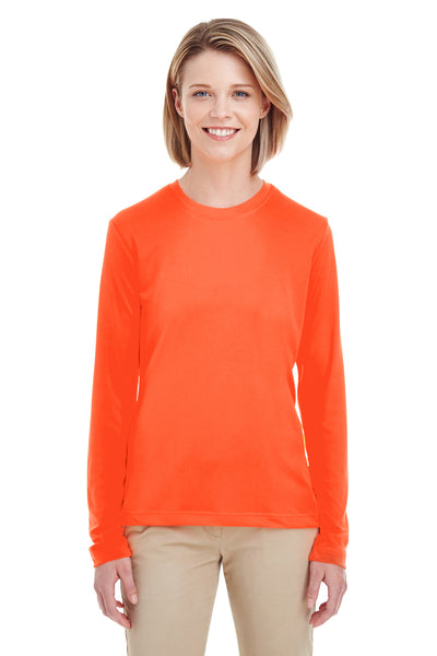 UltraClub 8622W Womens Cool & Dry Performance Moisture Wicking Long Sleeve Crewneck T-Shirt Orange Front