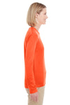 UltraClub 8622W Womens Cool & Dry Performance Moisture Wicking Long Sleeve Crewneck T-Shirt Orange Side