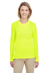 UltraClub 8622W Womens Cool & Dry Performance Moisture Wicking Long Sleeve Crewneck T-Shirt Bright Yellow Front