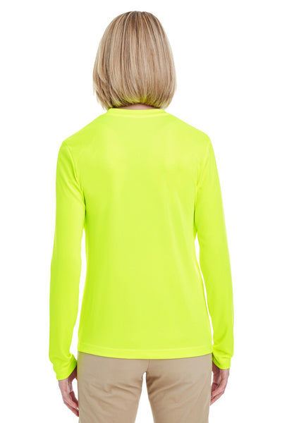 UltraClub 8622W Womens Cool & Dry Performance Moisture Wicking Long Sleeve Crewneck T-Shirt Bright Yellow Back