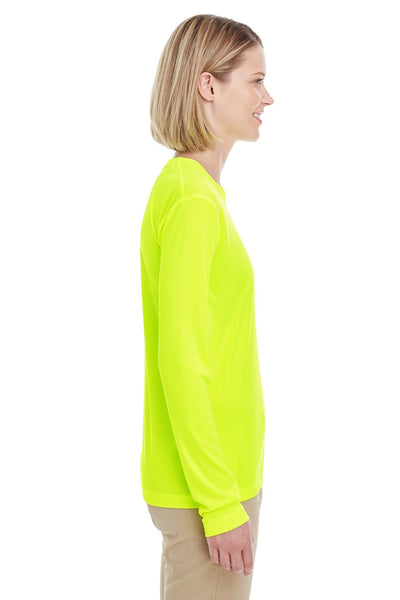 UltraClub 8622W Womens Cool & Dry Performance Moisture Wicking Long Sleeve Crewneck T-Shirt Bright Yellow Side