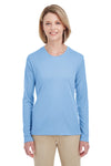 UltraClub 8622W Womens Cool & Dry Performance Moisture Wicking Long Sleeve Crewneck T-Shirt Columbia Blue Front