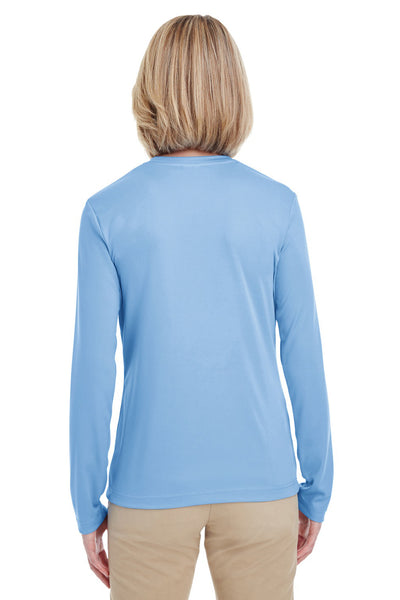 UltraClub 8622W Womens Cool & Dry Performance Moisture Wicking Long Sleeve Crewneck T-Shirt Columbia Blue Back