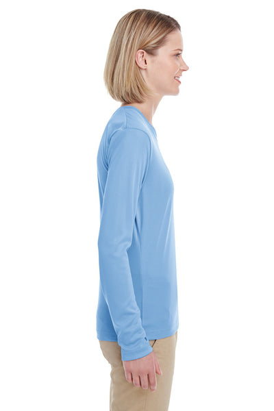 UltraClub 8622W Womens Cool & Dry Performance Moisture Wicking Long Sleeve Crewneck T-Shirt Columbia Blue Side