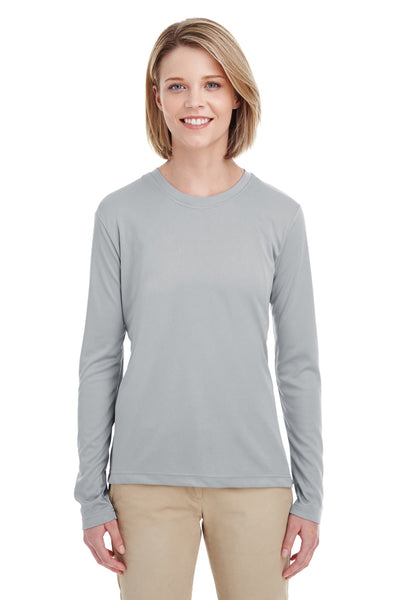 UltraClub 8622W Womens Cool & Dry Performance Moisture Wicking Long Sleeve Crewneck T-Shirt Grey Front