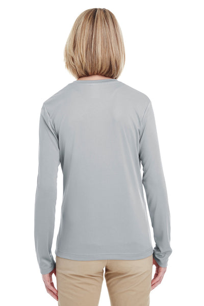 UltraClub 8622W Womens Cool & Dry Performance Moisture Wicking Long Sleeve Crewneck T-Shirt Grey Back