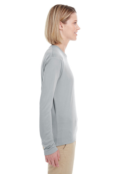 UltraClub 8622W Womens Cool & Dry Performance Moisture Wicking Long Sleeve Crewneck T-Shirt Grey Side
