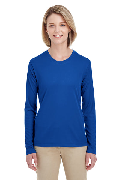 UltraClub 8622W Womens Cool & Dry Performance Moisture Wicking Long Sleeve Crewneck T-Shirt Royal Blue Front