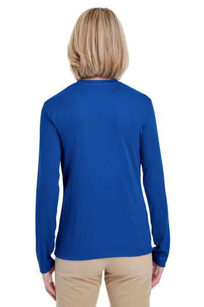 UltraClub 8622W Womens Cool & Dry Performance Moisture Wicking Long Sleeve Crewneck T-Shirt Royal Blue Back