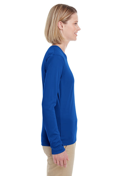 UltraClub 8622W Womens Cool & Dry Performance Moisture Wicking Long Sleeve Crewneck T-Shirt Royal Blue Side