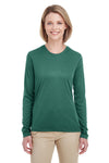 UltraClub 8622W Womens Cool & Dry Performance Moisture Wicking Long Sleeve Crewneck T-Shirt Forest Green Front