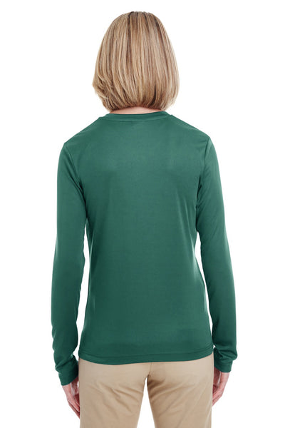 UltraClub 8622W Womens Cool & Dry Performance Moisture Wicking Long Sleeve Crewneck T-Shirt Forest Green Back