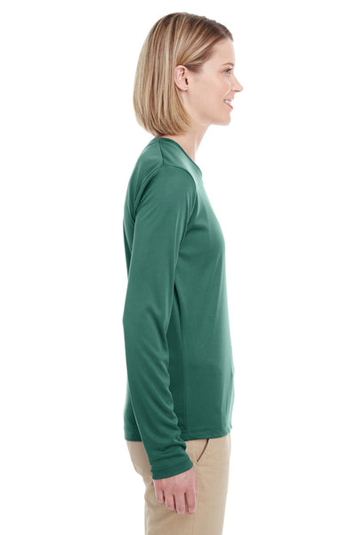 UltraClub 8622W Womens Cool & Dry Performance Moisture Wicking Long Sleeve Crewneck T-Shirt Forest Green Side