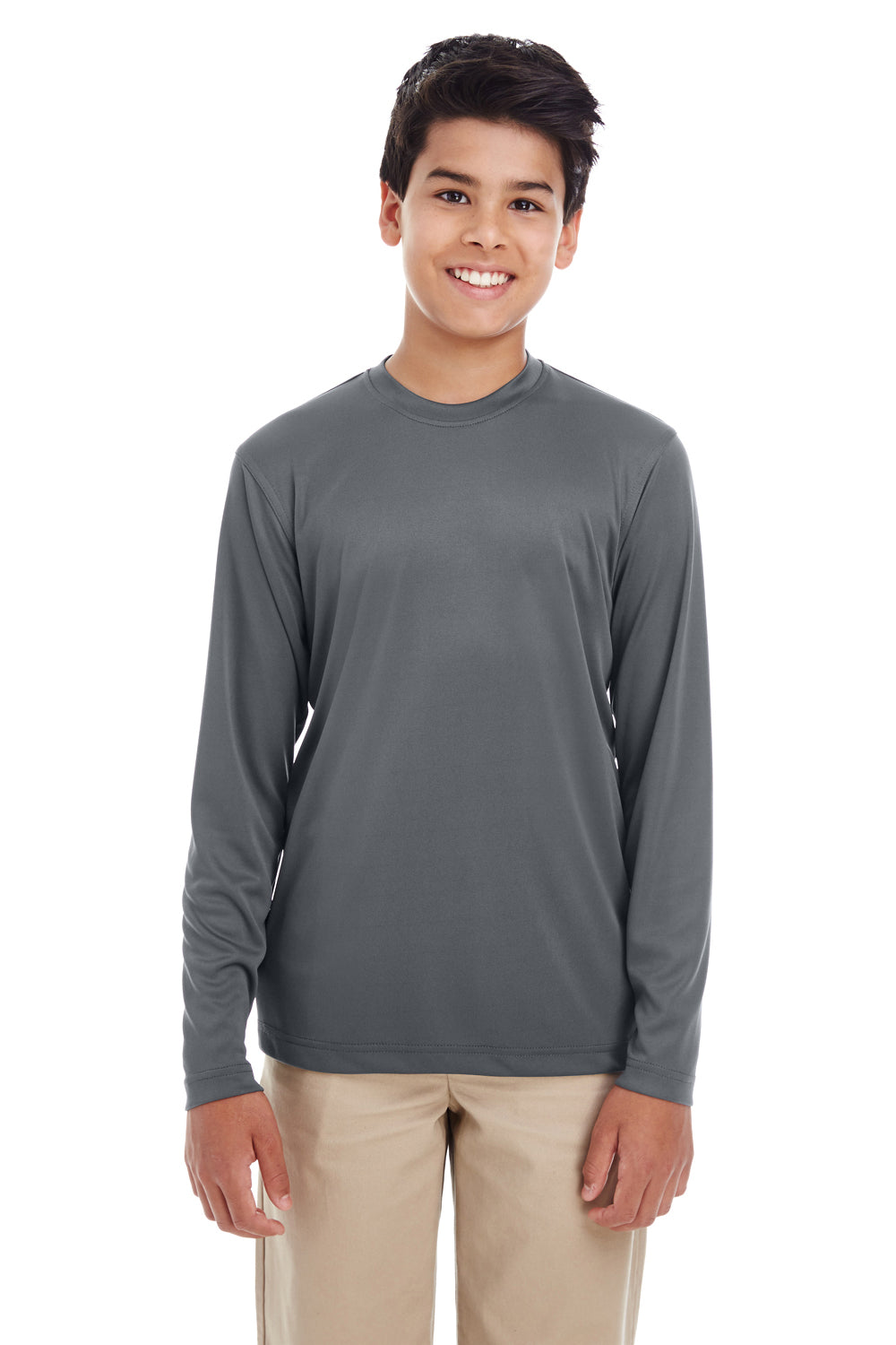 UltraClub 8622Y Youth Cool & Dry Performance Moisture Wicking Long Sleeve Crewneck T-Shirt Charcoal Grey Front